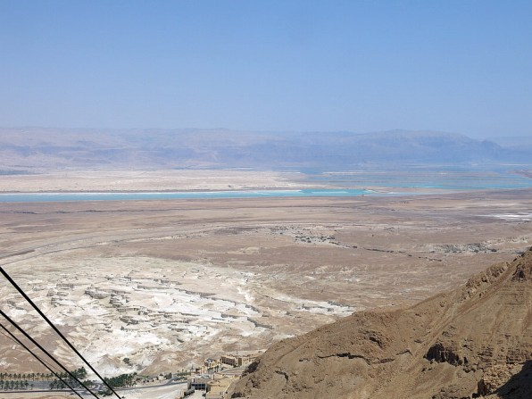 Views from the cable car, near the 450m plateau of Masada.