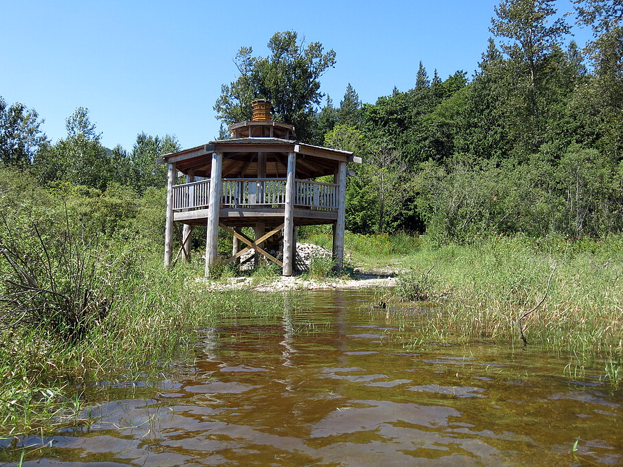 View of the gazebo while wading in Harrison River