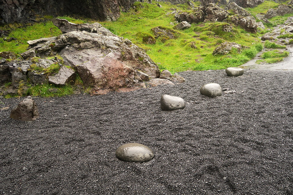 Aflraunasteinar - Steinatök or lifting-stones. They were used to measure the strength of fishermen in Iceland