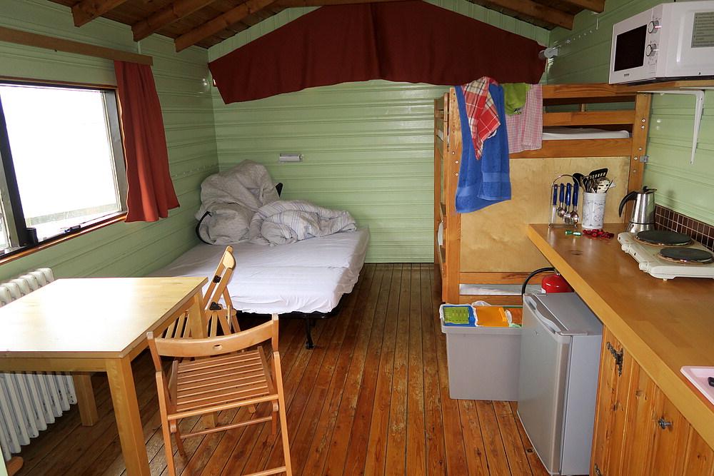 Inside the quaint cabin