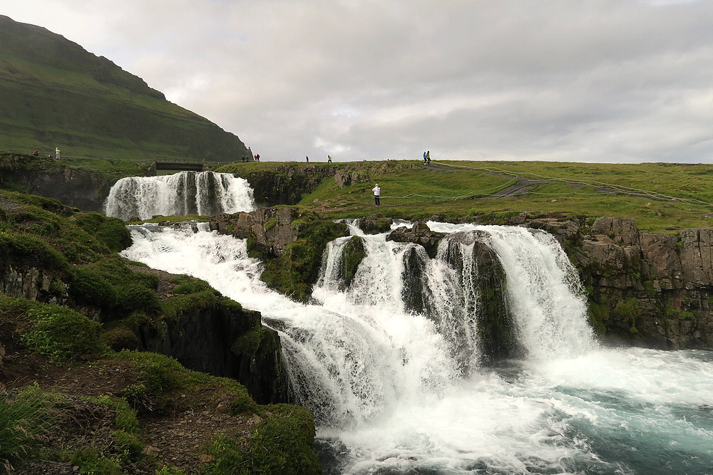 View of Kirkjufellsfoss from the foot of the falls